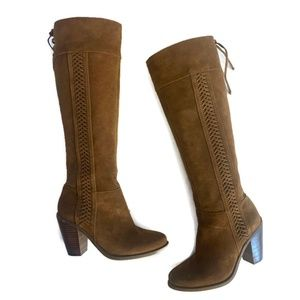 Jessica Simpson Brown Suede Lattice Boots ~ 6.5